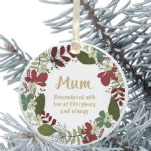 In Loving Memory Personalised Remembrance Christmas Tree Decoration - Floral Wreath Design
